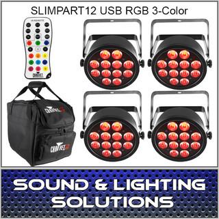 Chauvet DJ SlimPART12USB Four Pack Mobile IRC Control RGB 3 Color LED