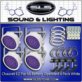 Chauvet DJ EZ Par 64 RGBA 4 Pack White + Extras!