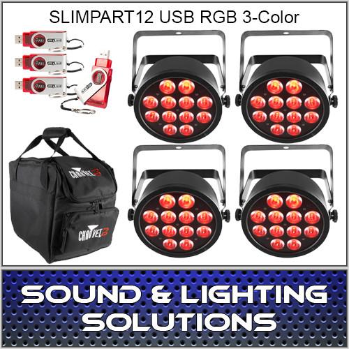 Chauvet DJ SlimPART12USB Four Pack Dfi RGB 3 Color LED
