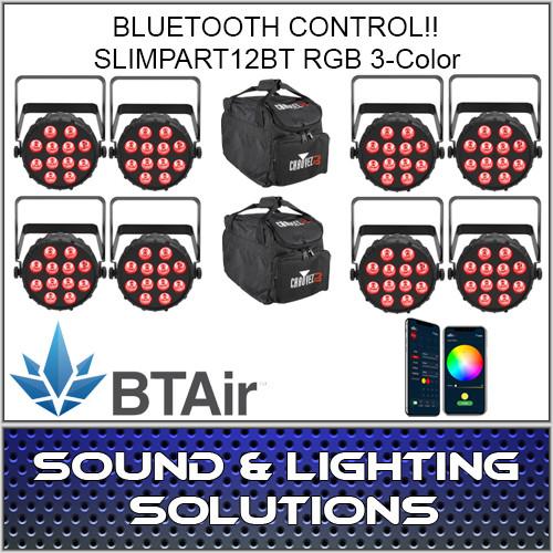 Chauvet DJ SlimPAR T12 BT (RGB) Wash Light with built-in Bluetooth (BTAir) 8 Pack