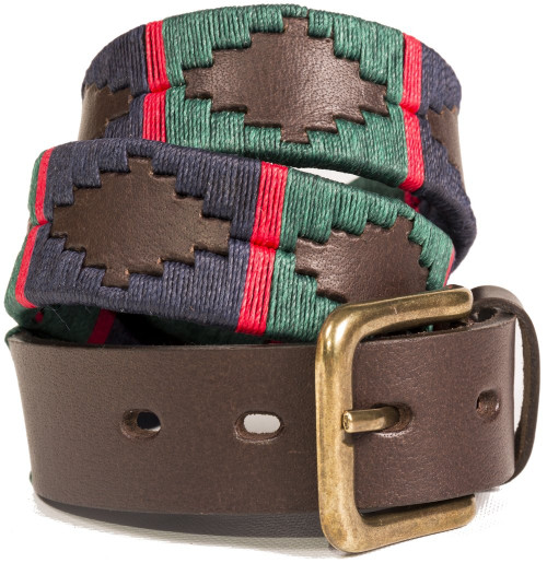 Argentine Belt (Navy/Dark Green/ Red Stripe)