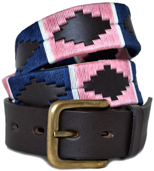 Argentine Belt (Pink/Navy/White stripe)