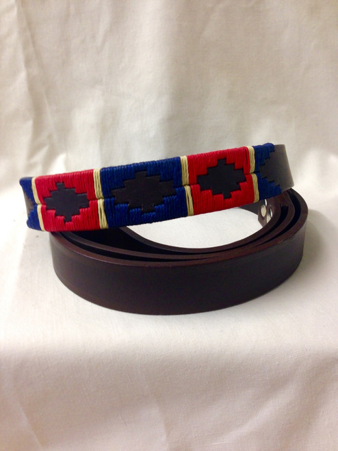 Royal Blue with Red & Cream Dog Lead