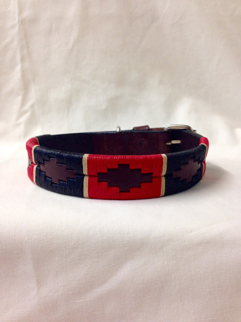Red & Navy Dog Collar