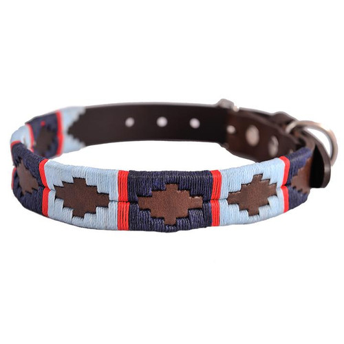Navy / Pale Blue with Red Stripe Dog Collar