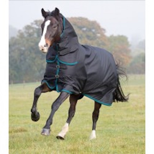 The toughest of the Tempest Plus rugs, offering 300g heavyweight protection for cold temperatures. This combo rug features an integrated contour neck cover which fastens with double sided touch close straps. Key features: ShireTex® 1200 denier ripstop, waterproof and breathable outer with taped seams, fully lined, 300g polyfill, adjustable buckle chest straps, adjustable cross surcingles and fillet strap, integrated leg strap loops, tail flap WarmaRug Compatible - Upgrade this rug's warmth rating using separate rug liners in 100g or 200g. Tempest Plus for reassuring weather protection.