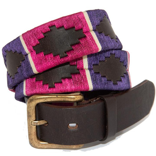 Argentine Belt (Black/berry/white stripe)