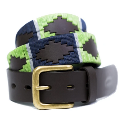 Argentine Belt (Lime/ navy/ grey stripe)