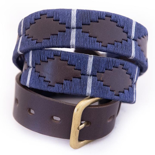 Argentine Belt (Navy/silver grey stripe)