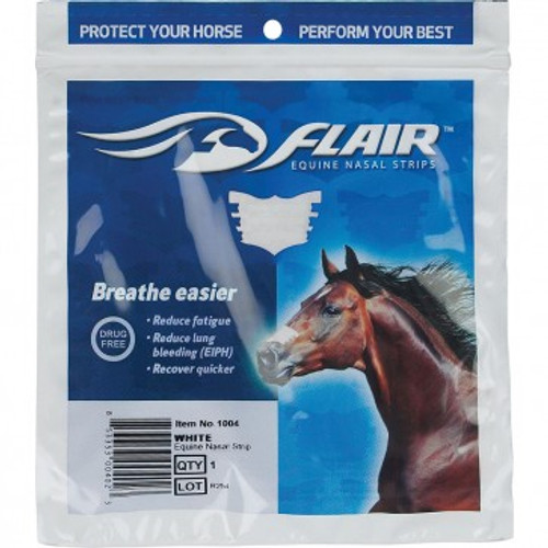 Flair Nasal strips Pack of 6  Flair Nasal Strips were developed by veterinarians to help promote the well being in competition horses. Also known as FLAIR® Strips. They are drug-free with a self-adhesive backing that sticks to the nose. As a result the flair nasal strips promote optimum health for horses. The nasal strips can be used in all disciplines and also at every level of competition.  Easy to use. The FLAIR® Strips support the soft tissues over the nasal passage and help to open up the narrowest part of the upper airway system. This therefore reduces airway resistance and improves airflow when your horse needs oxygen most.  BREATHE EASIER The spring-like action in FLAIR Strips supports the soft tissues over the nasal passages to reduce the tissue collapse that occurs in all horses during exercise to make it easier to breathe in oxygen.  REDUCE FATIGUE Due to the increased air flow the blood is able to absorb more oxygen. As a result the horse endurance will increase so they can work longer and harder, pushing you towards that winning line.  CONSERVE ENERGY Clinically Proven. Horses wearing FLAIR Strips have been shown to use 5-6% less energy during intensive exercise. This can be essential when covering long distances, such as cross country.  RECOVER FASTER Leaving on after exercise will help support the nasal passages during recovery. This will help your horse cool down more quickly.  PROTECT FROM EXERCISE INDUCED PULMONARY HEMORRHAGE (EIPH) FLAIR Strips help prevent the fragile pulmonary blood vessels in the lungs from rupturing during exercise.  Available in single strips or packs of six. Black and White.