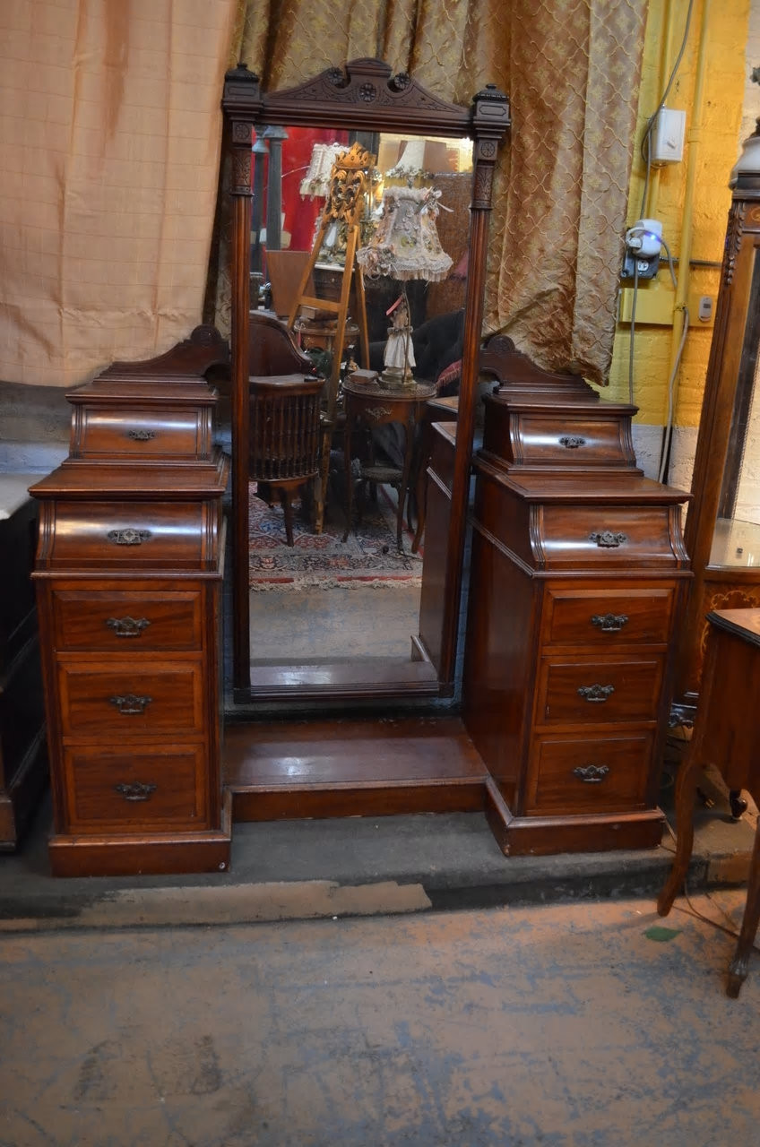 Antique Victorian Vanity Dresser With Full Length Dressing Mirror And Drawers Vintage Grind House