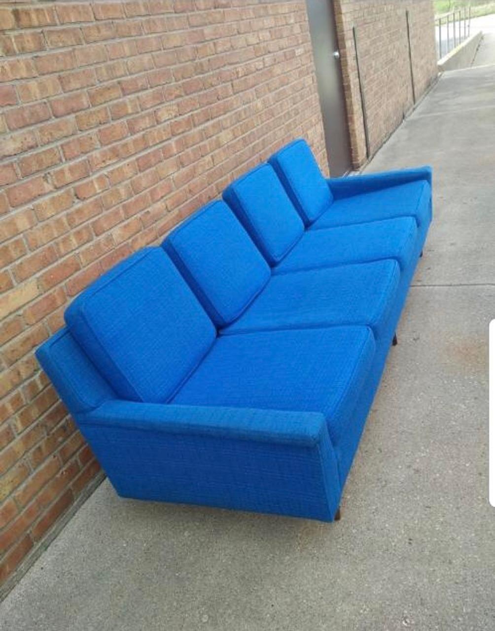 Vintage Mid Century Modern Milo Baughman Original Cobalt Blue Fabric Sofa  for Thayer Coggin
