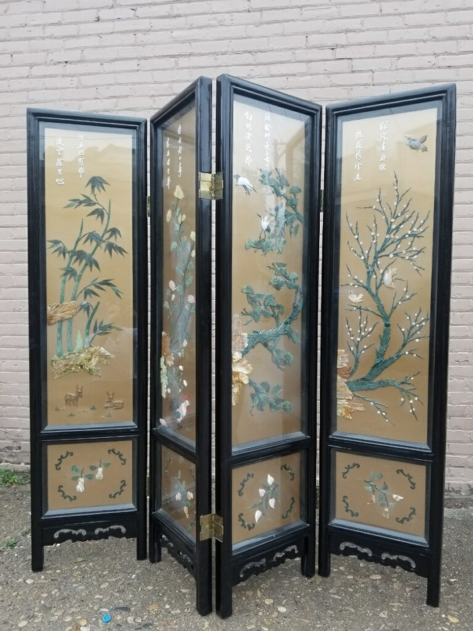 Johnson Carved Furniture Co Asian Hand Painted Glass Enclosed Mother Of Pearl Design 4 Panel Screen Room Divider Vintage Grind House