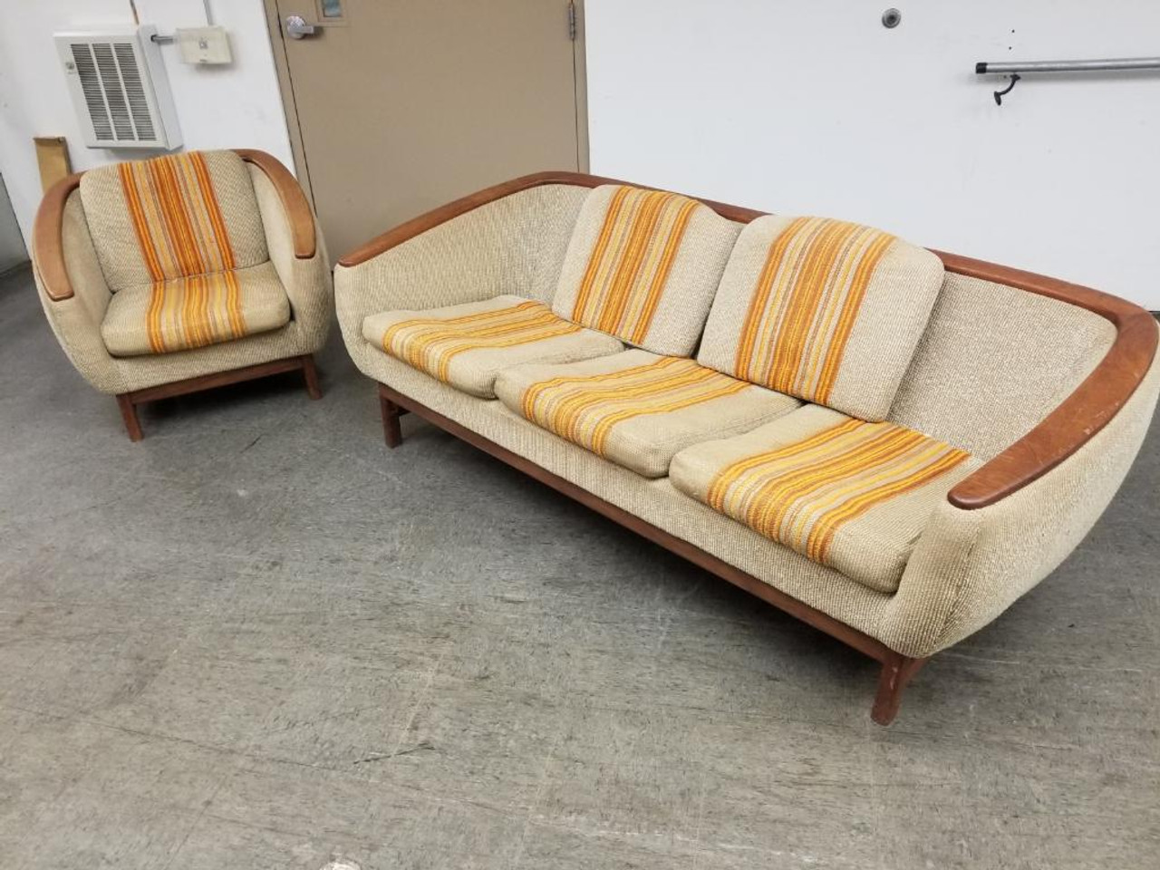 Super Mid Century Modern Danish R Huber Curved Back Teak Trim Sofa And Barrel Back Lounge Chair Set Of 2 Ncnpc Chair Design For Home Ncnpcorg