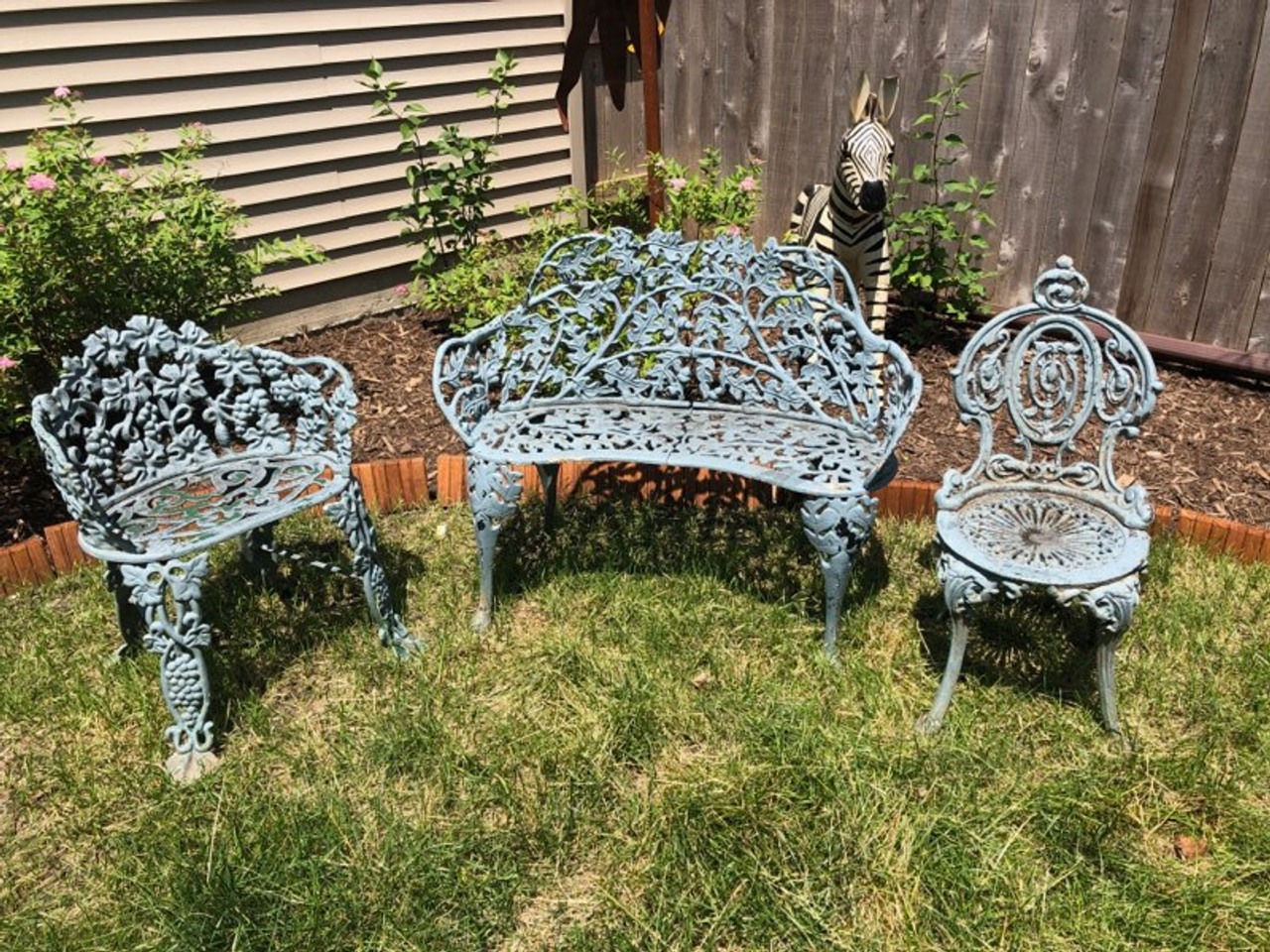 Antique French Victorian Metal Outdoor Sitting Furniture 3 Piece