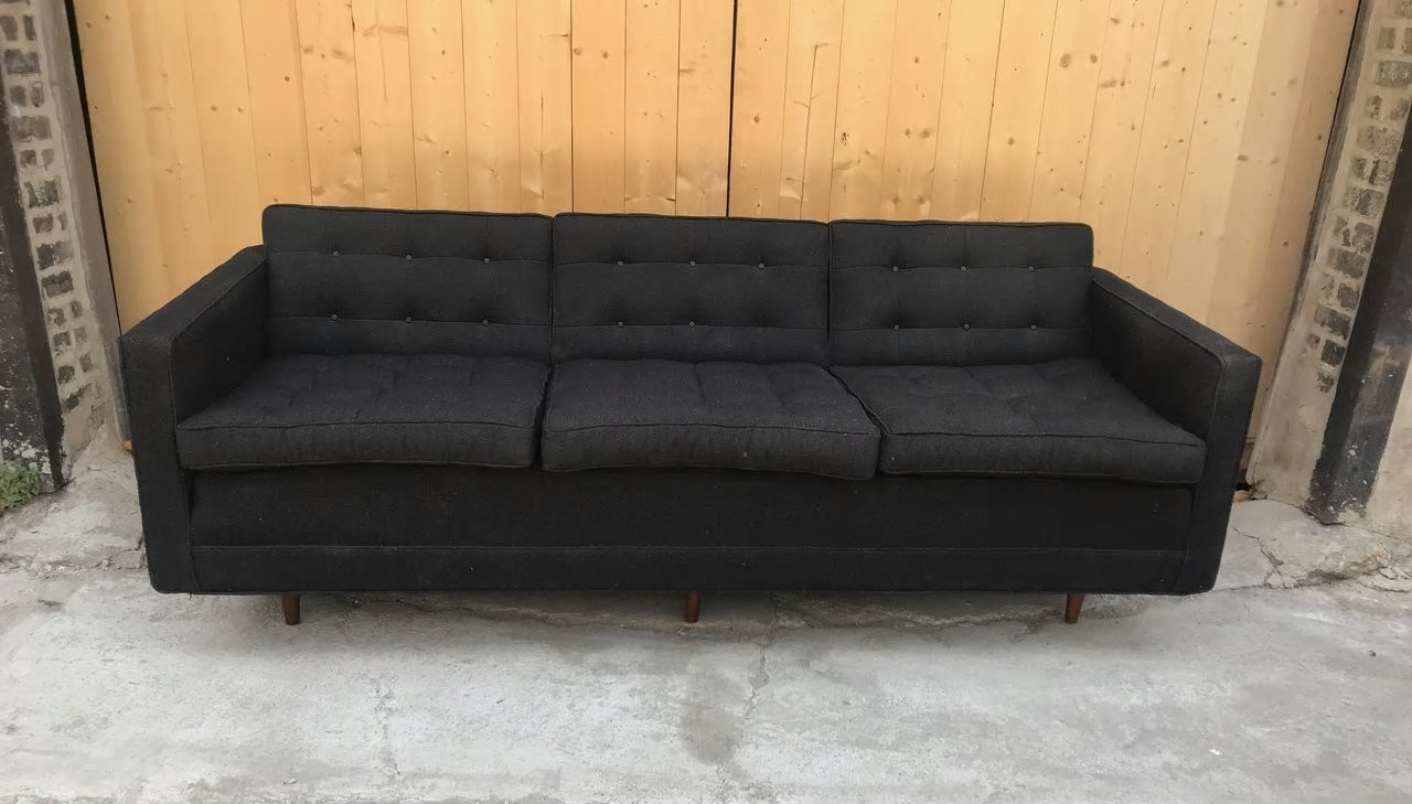 Mid Century Modern Early Addition Florence Knoll Sofa Original Black Fabric Vintage Grind House