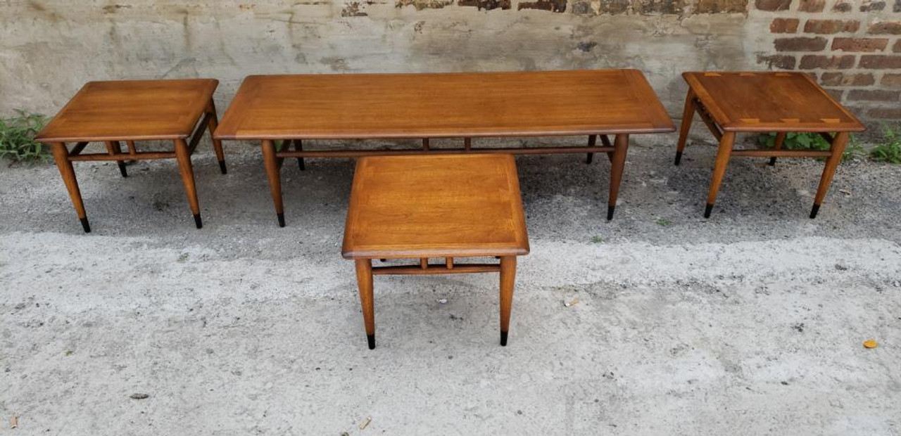 Image of: Mid Century Modern Lane Surfboard Coffee Table And 3 Side Tables 4 Piece Set Vintage Grind House