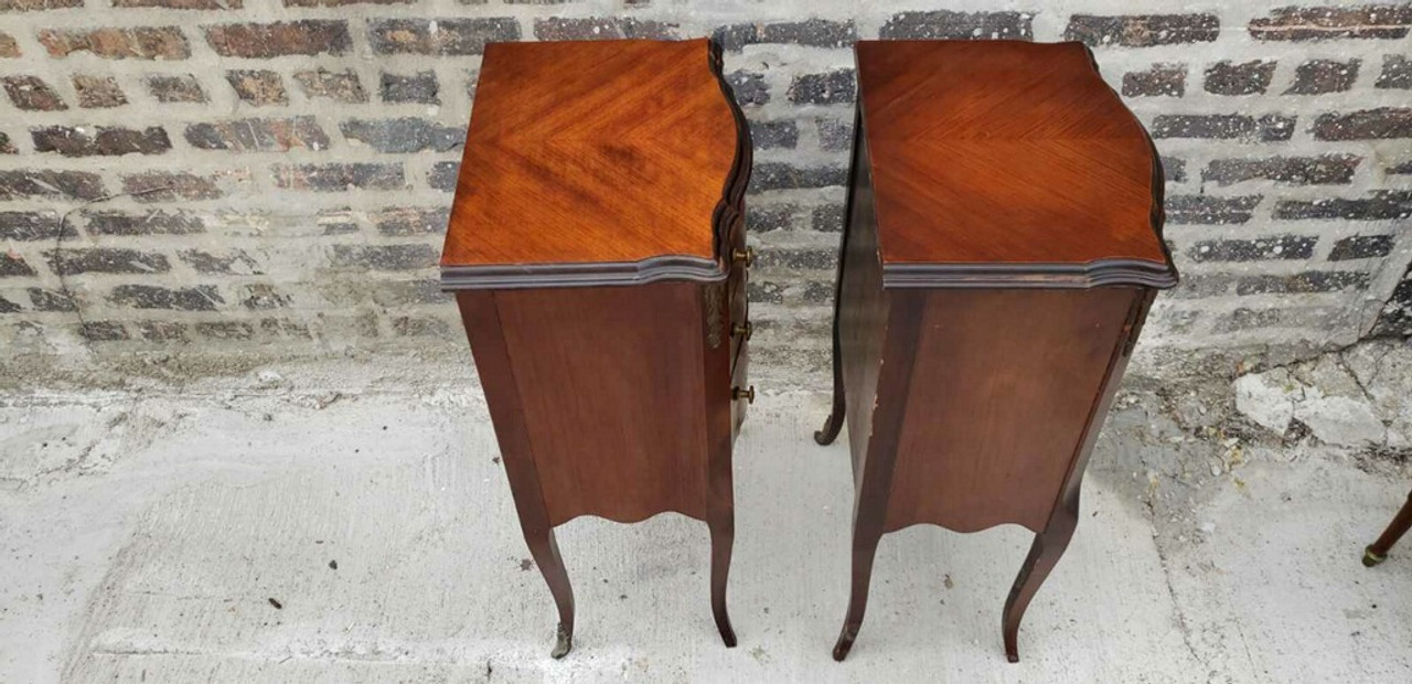 Fine Antique French Marquetry Inlaid Three Drawers Side Tables Pair Machost Co Dining Chair Design Ideas Machostcouk
