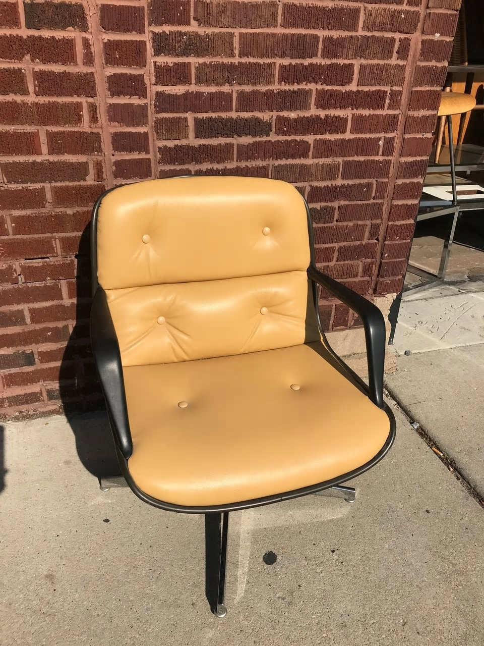Vintage Mid Century Modern Steelcase Tan Leather Swivel Office Chair Newly Upholstered