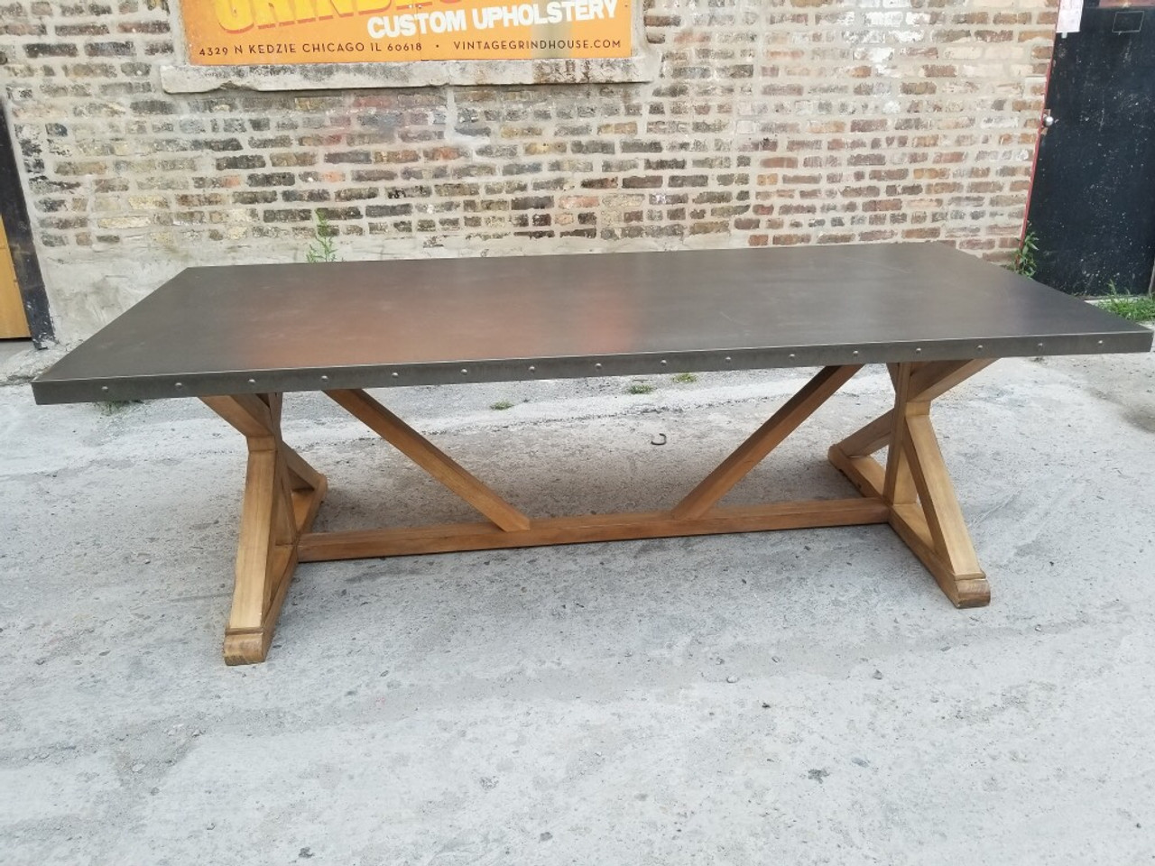 Restoration Hardware Style Riveted X Base Stainless Steel Top Dining Table Vintage Grind House