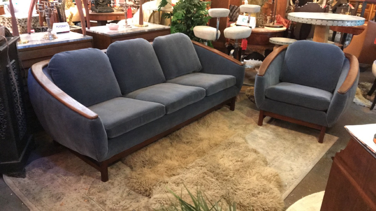 Mid Century Modern Danish R. Huber Sofa and Barrel Back Chair Newly  Reupholstered- Set of 2