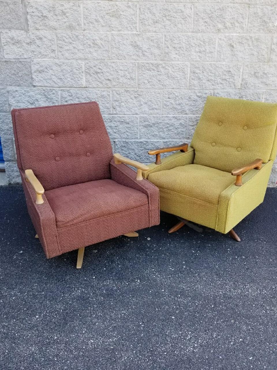 Mid Century Modern Designer Swivel Rocker Chairs Pair Vintage Grind House