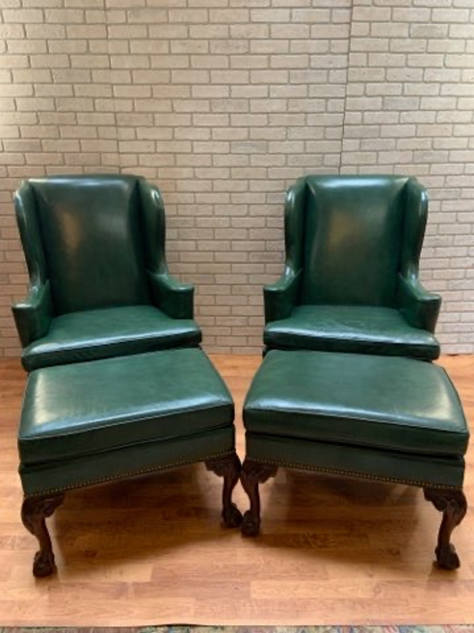 Hancock And Moore Green Leather Wingback Chairs And Ottomans 4 Piece Set Vintage Grind House