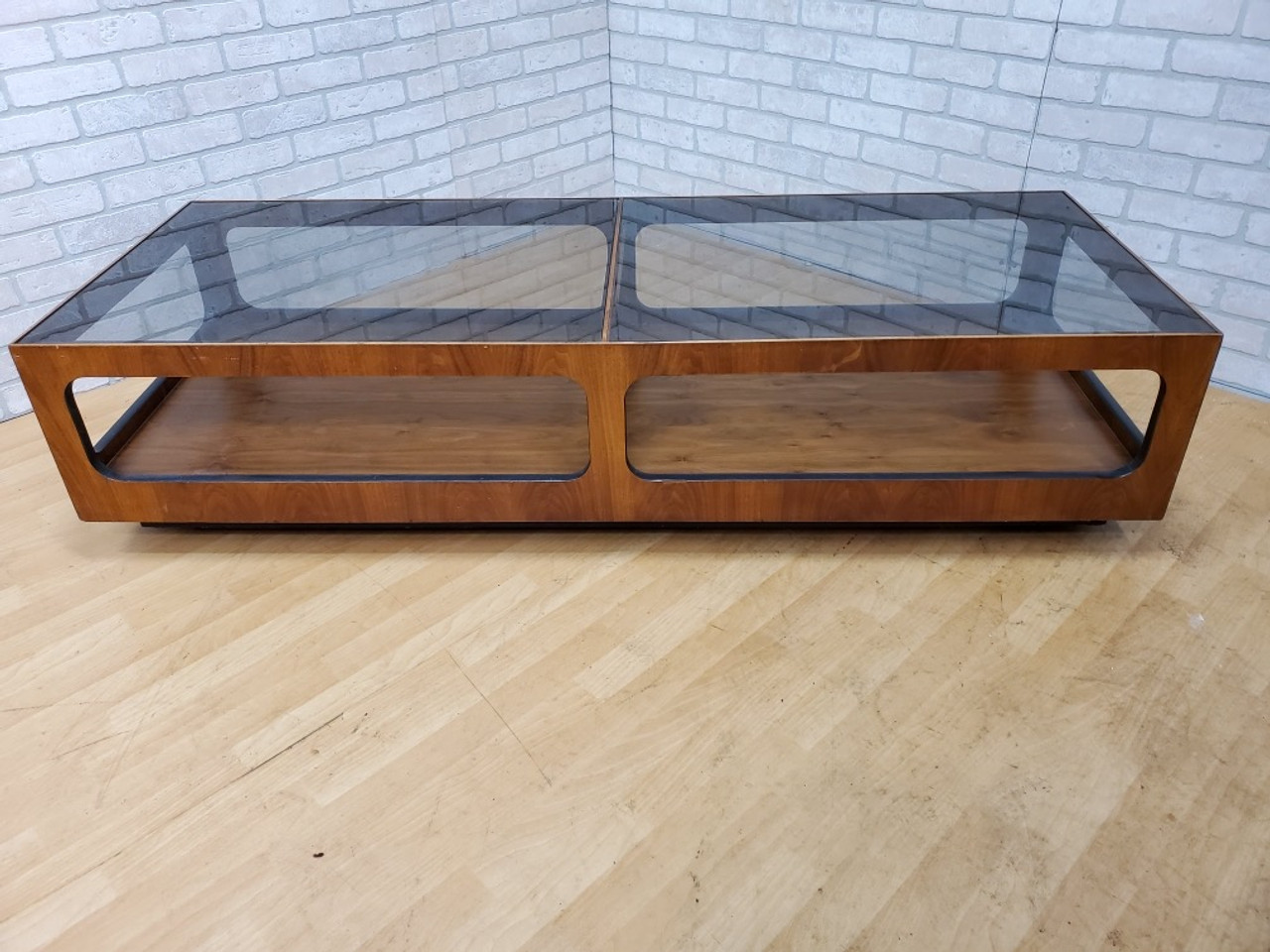 Mid Century Modern Lane Walnut And Smoked Glass Coffee Table Vintage Grind House