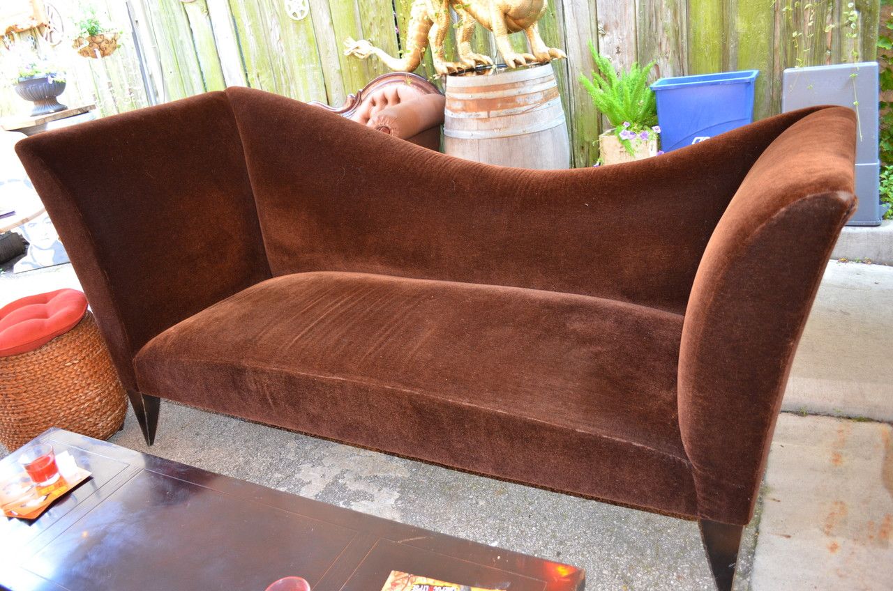 Exceptional Chicago Based Designer Brown Mohair Sofa