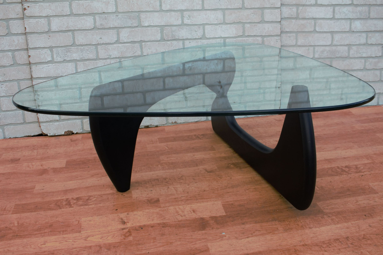 Mid Century Modern Noguchi Style Coffee Table With Black Base Vintage Grind House