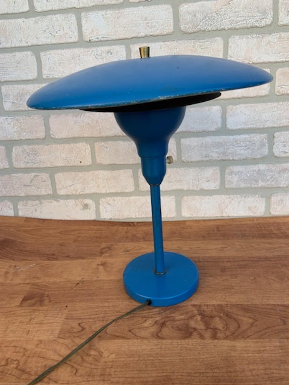Image of: Vintage Mid Century Modern Blue Saucer Desk Lamp Vintage Grind House