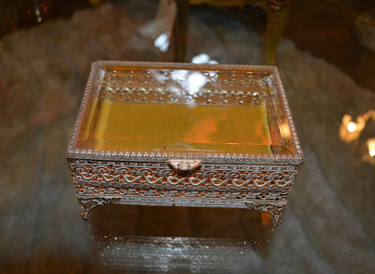Antique Brass Glass Gilded Gold Jewelry Box - Vintage Grind House 11d1f0688