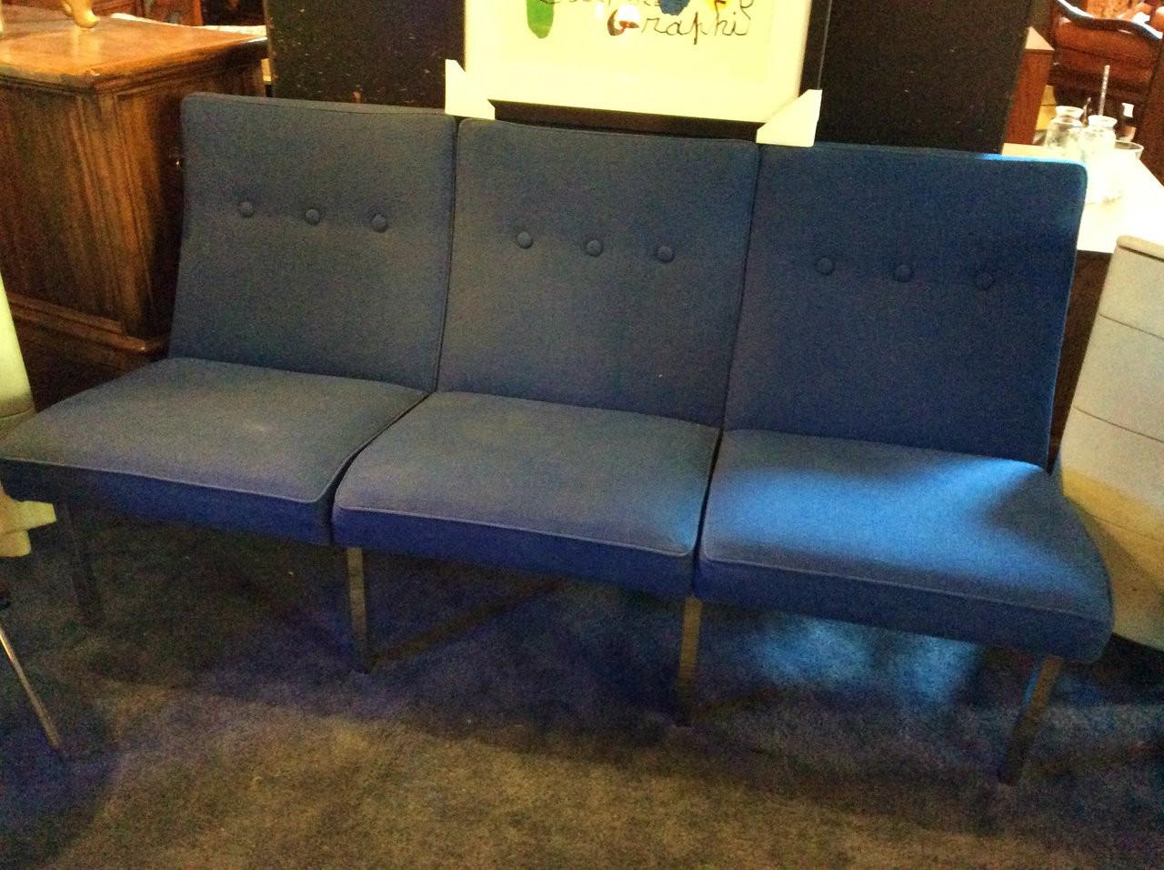 Mid Century Modern Vintage Steelcase Cobalt Blue Sofa