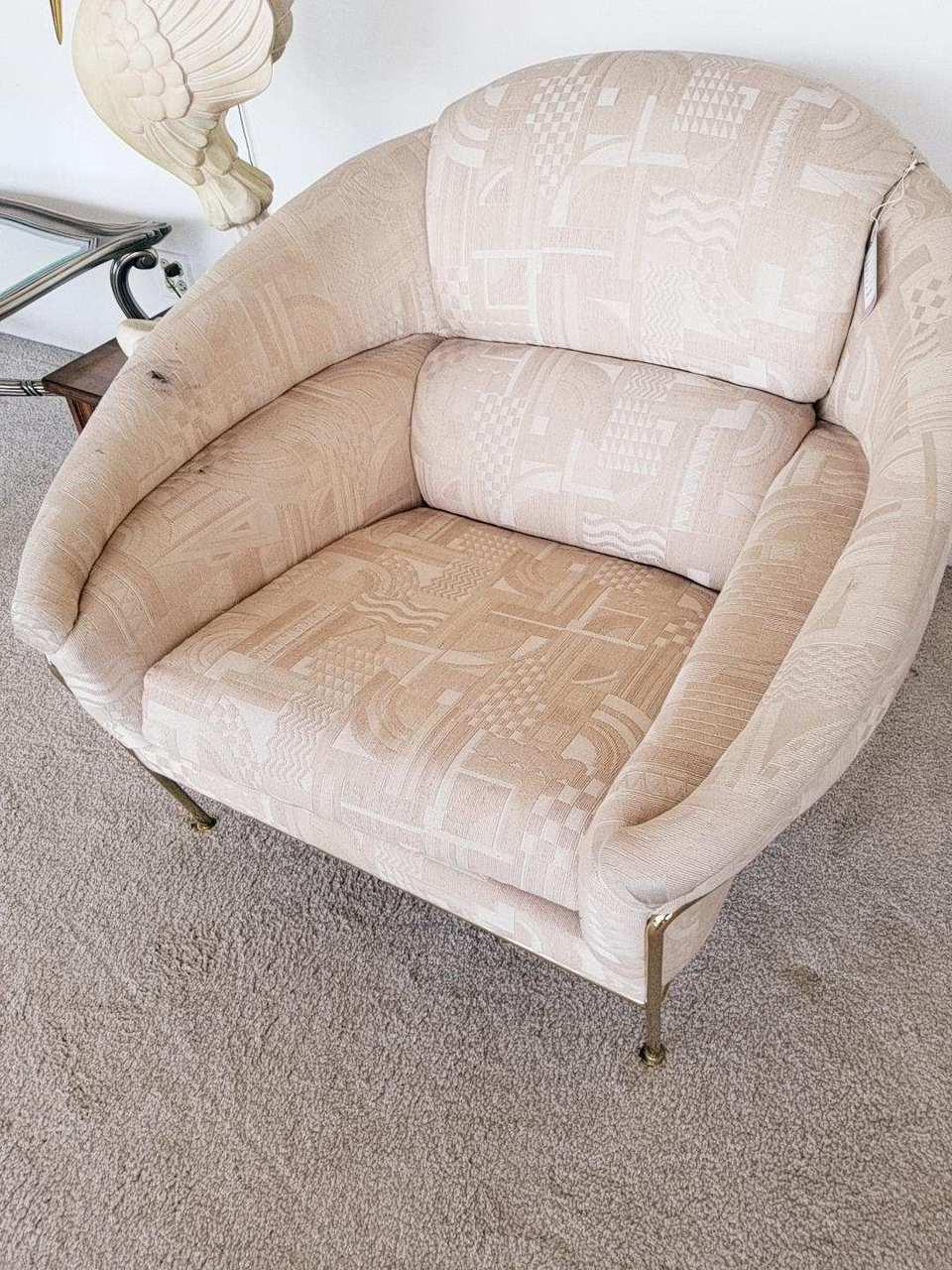 Vintage Showroom Floor Rare Brass Legged Milo Baughman Boldido Chair