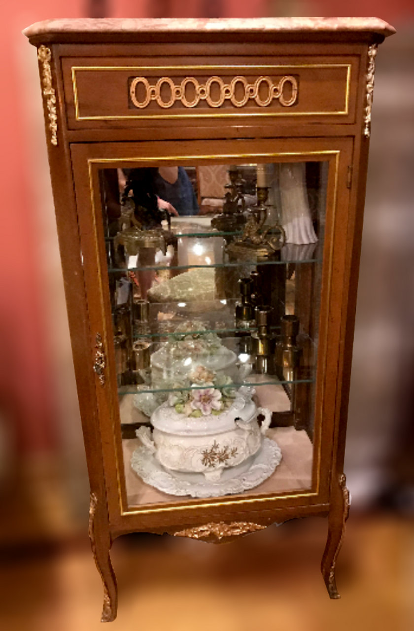 Antique Glass Display Cabinet with a Marble Top - Antique Glass Display Cabinet With A Marble Top - Vintage Grind House