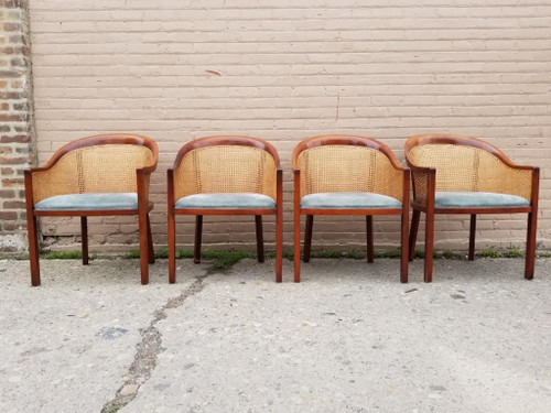 Vintage Mid Century Modern Four Exquisite Signed Ward Bennett Caned Barrel Back Dining Chairs