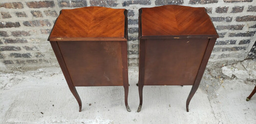 Groovy Antique 19Th Century Pair Of French Marquetry Inlaid Three Drawers Side Tables Machost Co Dining Chair Design Ideas Machostcouk