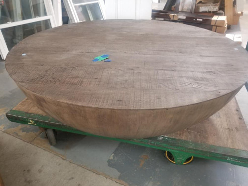 "Vintage Restoration Hardware Sphere Round 55"" Coffee Table In Ash Reclaimed  Pero Floor Model"