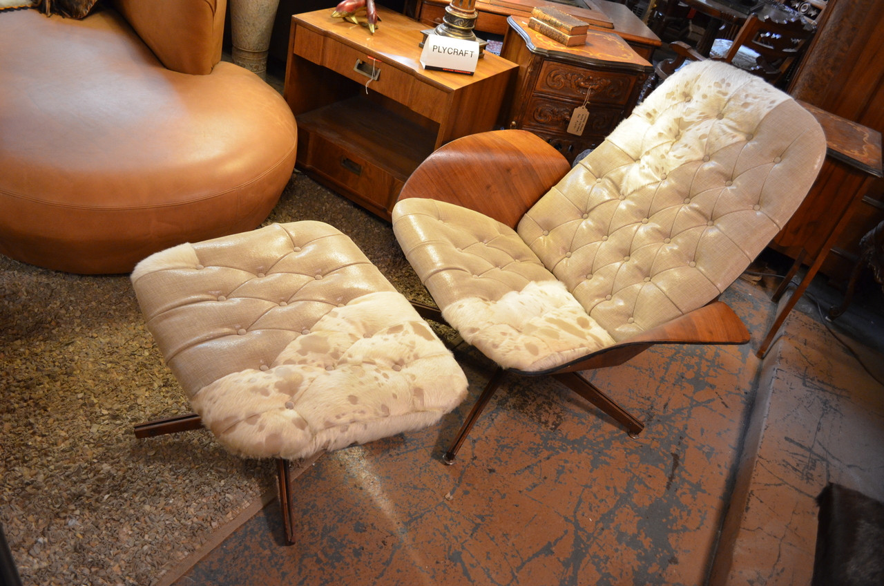 Vintage George Mulhausen Tufted Leather and Hide Bent Plywood Lounge with Ottoman for Plycraft