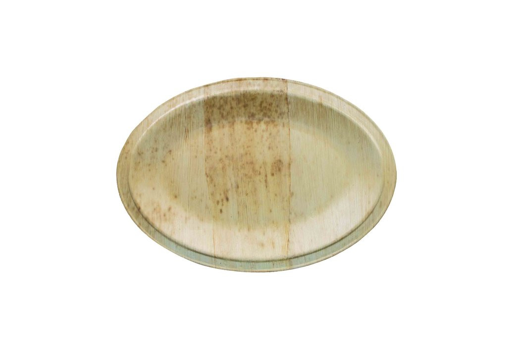 "Bamboo Sheath Platter Oval Disposable 11.9"" x 8.4"""