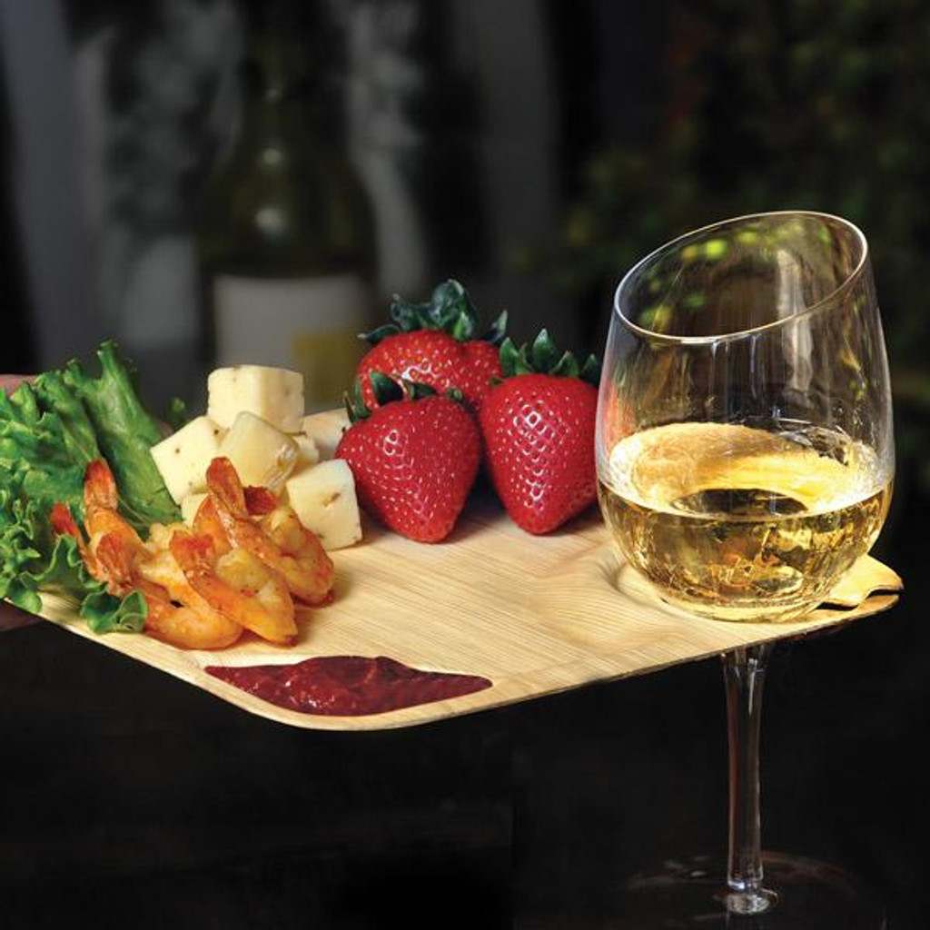 Bamboo Sheath Wine Plate Square Disposable 9""
