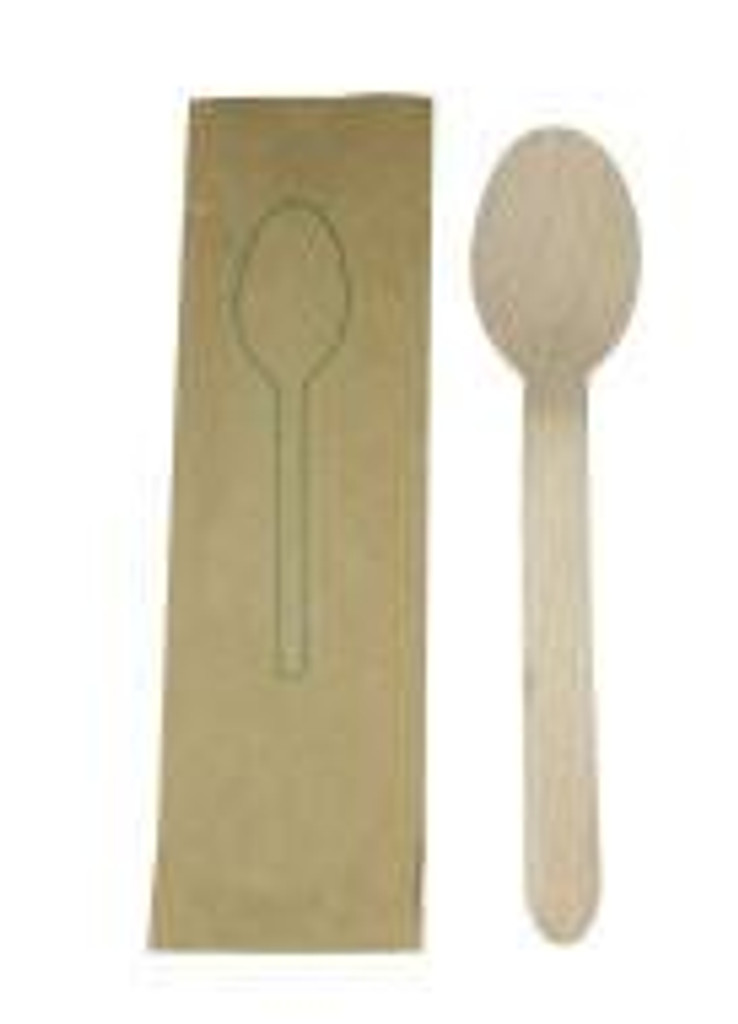 """Birch Paper Wrapped Spoon Disposable 6"""""""