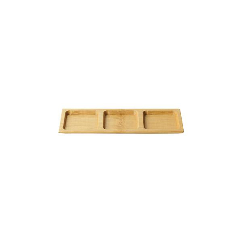 Bamboo Plate Divide Rectangle Reusable 7""