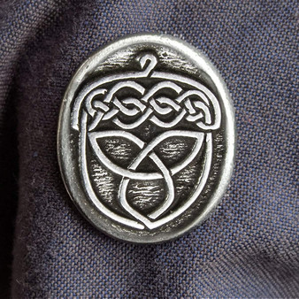 """Celtic Acorn Pewter Pin - 1""""wide with sturdy 2 pin back."""