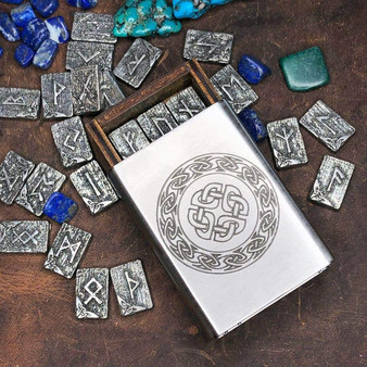 Pewter Travel Rune Set 24pc in Celtic Knot Stainless Steel box