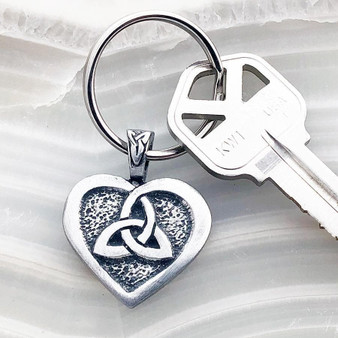 Celtic Heart and Triquetra Keychain