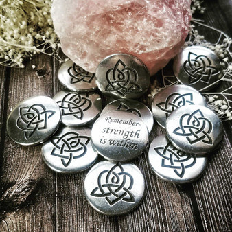 Pouch of Brigids Heart blessings for Strength - Celtic Wisdom Pocket Charms 12pc