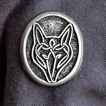 """Celtic Wolf Pewter Pin - 1""""wide with sturdy 2 pin back."""