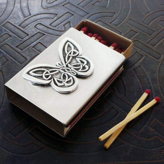 Celtic Butterfly Match Box in Stainless Steel