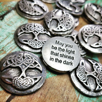 Pouch of Tree of Life Blessings - Celtic Blessing Pocket Charms 12pc